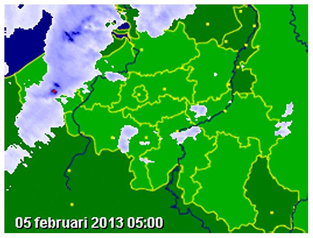 Carte radar des précipitations. Source : Buienradar