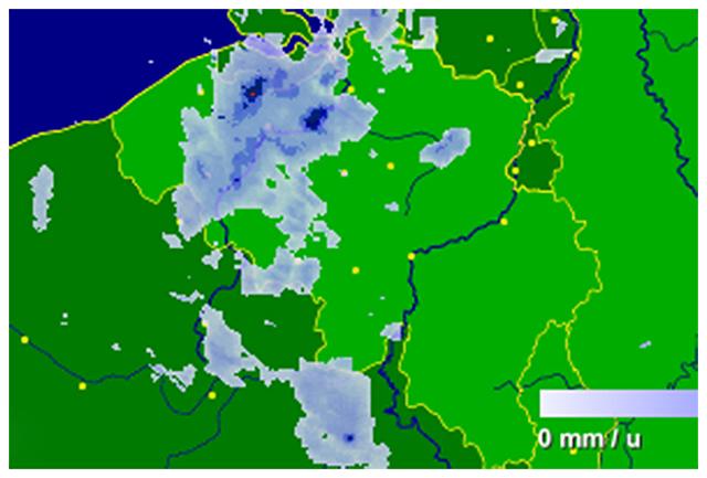 Radar de précipitations vers 07h00. Source : Buienradar