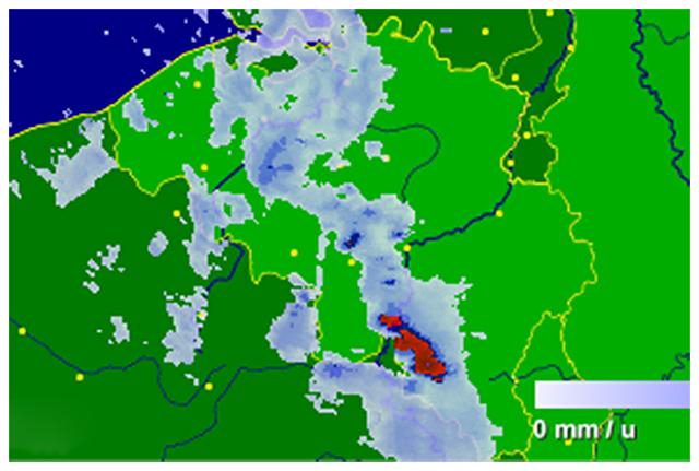 Radar de précipitations vers 08h15. Source : Buienradar