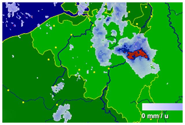 Radar de précipitations vers 10h00. Source : Buienradar