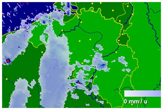 Radar de précipitations vers 22h30. Source : Buienradar