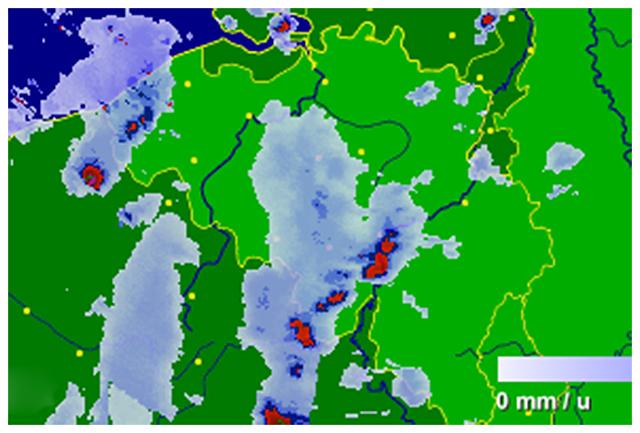 Radar de précipitations vers 23h30. Source : Buienradar