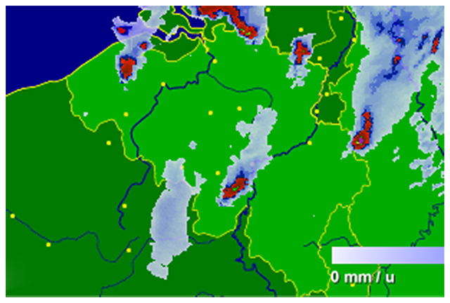 Radar de précipitations vers 03h15. Source : Buienradar
